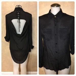 Tops - NWOT Black Shirt w/Drape Cutout & Lace-up Detail